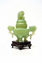 A green Chinese jadeite Censer