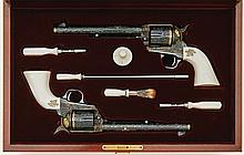 Extraordinary John Adams Engraved Pair Of Screwless Frame Colt Single Action Army Revolvers