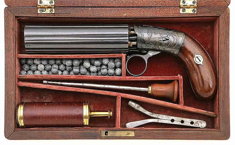 Superb Cased Blunt & Syms Underhammer Percussion Pepperbox