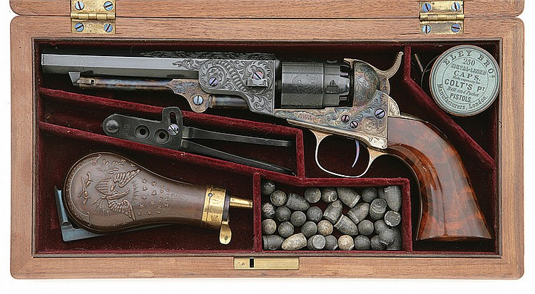 Cased and Engraved Klay Colt Pocket Navy Revolver