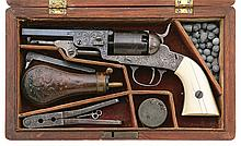 Superb Engraved And Cased Early Manhattan Pocket Model Revolver