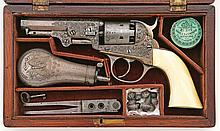 Exceptional Cased And Engraved Cooper 2Nd Model Double Action Revolver