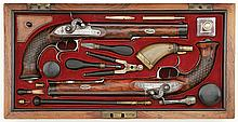 Handsome Cased Pair of Percussion Target Pistols by F. C. Anschutz of Suhl