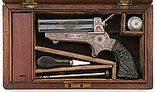 Superb Cased And Engrvaed Tipping & Lawden Sharps Patent Pepperbox
