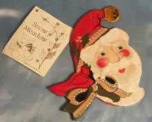 1980's House of  Hatten hand painted Old World Santa Clause Ornament made out of wood.From the Snow Meadow Collection and designed by Denise Calla