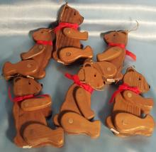 Vintage 1980's Wood Teddy Bear Christmas Ornaments with moving arms and Legs.