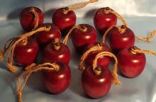(12) Wooden Apple Christmas Ornaments