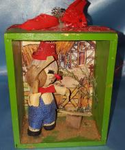 (2) Vintage Mouse Shadow Box Wall Hangings with handmade Mouse Figures