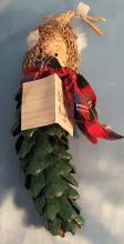 Vintage Christmas Caroler Ornament with body made out of large Pine cone
