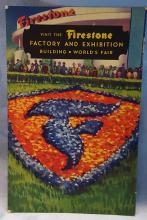 1934 Chicago Worlds Fair Postcard Firestone Exhibit = Flower and Garden Tribute