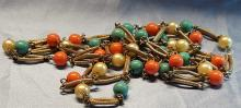Vintage Gold Tone Faux Turquoise, Coral, Pearl beaded Necklace with 54