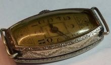 Rare  Art Deco 19K Rolled Gold Plate Marmon EVKOB  00 6 Jewels Swiss Wrist Watch =  2 Adjustment