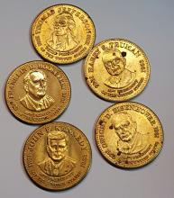 (5) Vintage 1992 Shell Presidential Collector Coins