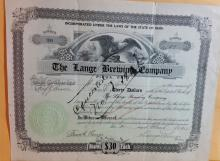 Lange Brewing Company Stock Certificates