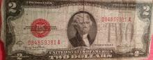 1928-G $2.00 Red Seal & 1976 UNC $2.00 Note