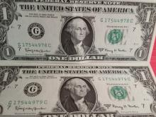 1963-A $1.00 Notes in Sequential Order UNC