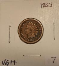1863 Indian Cent Very Good ++