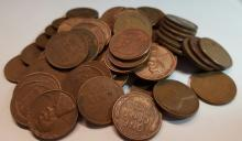 Bag of Mixed Unsearched Wheat Cents = Over 1/2 Pound