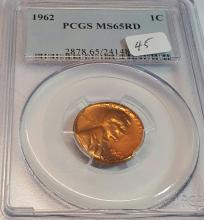 1962 PCGS MS 65 RD Lincoln Cent