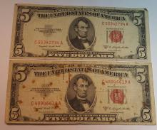 (5) 1953-B $5 Red Seal U.S. Bank Notes