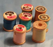 (7) Sewing Notions = Vintage Spools with Thread