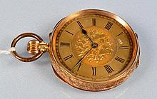 A 19th Century Swiss 14k lady's fob watch, plated inner cov