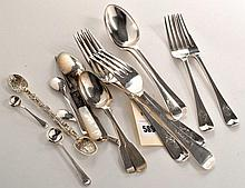 Three Victorian table forks, two dessert forks and two dess