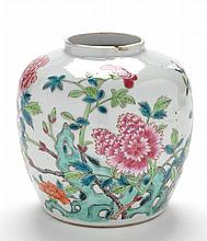 Chinese Famille Rose jar, painted with floral blooms amongs