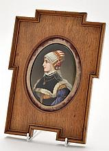 German painted oval porcelain plaque, with quarter profile