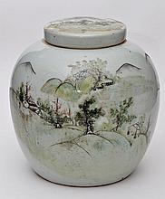 Chinese celadon coloured glaze ginger jar and