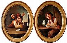 19th Century Dutch School TAVERN INTERIOR SCENES oil on pan