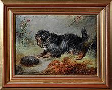 George Armfield (c.1808-1893) A TERRIER AND A HEDGEHOG sign