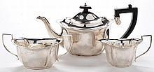 A George VI three-piece tea service, by Burtons & Waters, B