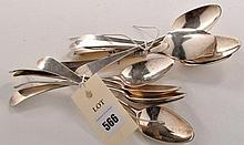Eleven George III dessert spoons, by John Langlands II, c.1