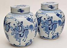 Pair of Chinese blue and white ginger jars and