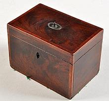 A George III mahogany rectangular tea caddy, decorated with