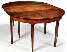 A George III mahogany D-end dining table, single leaf raise