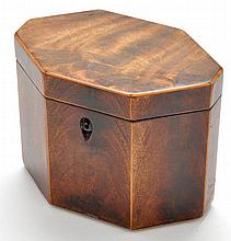 A George III mahogany tea caddy, of octagonal form with box