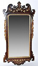 A George III mahogany wall mirror, the plate within floral,