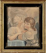 19th Century English School TWO ANGELS watercolou