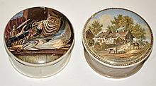 Two Prattware pot lids, with: 'fishing' still lif