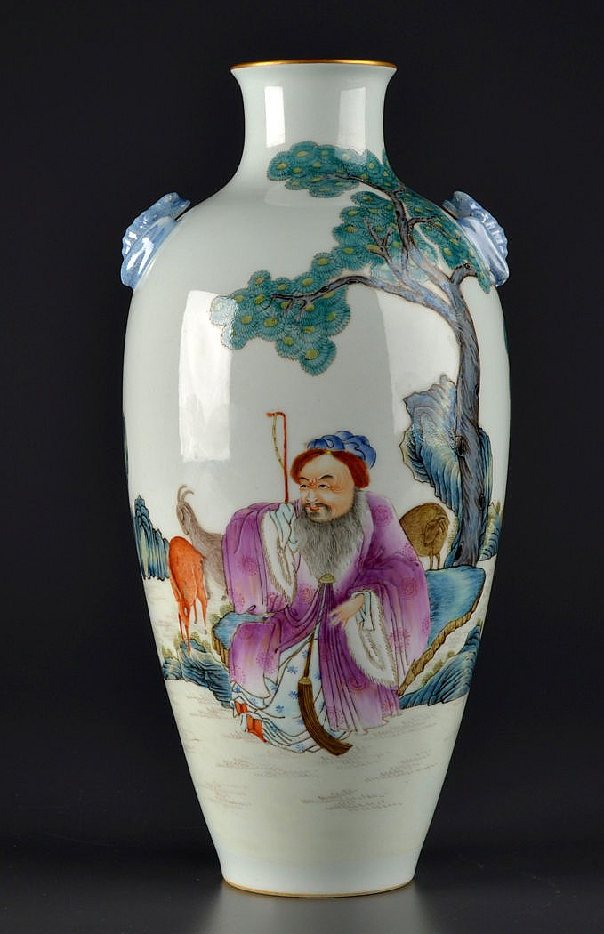 A Chinese Famille Rose vase, 20th Century, painted