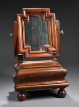 Sculptural European Walnut Dressing Table Mirror