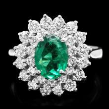 14K WHITE GOLD 1.50CT EMERALD 1.40CT DIAMOND RING