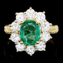 18K YELLOW GOLD 2.00CT EMERALD 2.00CT DIAMOND RING