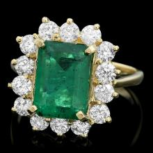 18K YELLOW GOLD 3.50CT EMERALD 1.30CT DIAMOND RING