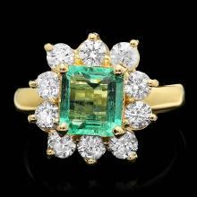 14K YELLOW GOLD 1.50CT EMERALD 1.35CT DIAMOND RING