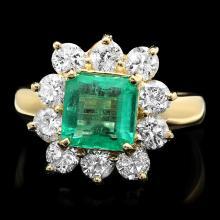 14K YELLOW GOLD 2.00CT EMERALD 1.60CT DIAMOND RING