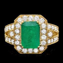 14K YELLOW GOLD 3.00CT EMERALD 1.50CT DIAMOND RING