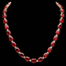 14K YELLOW GOLD 112.00CT RUBY 1.80CT DIAMOND NECKLACE